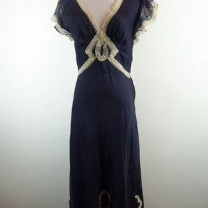REBECCA TAYLOR NAVY SILK DRESS v neck lace 6